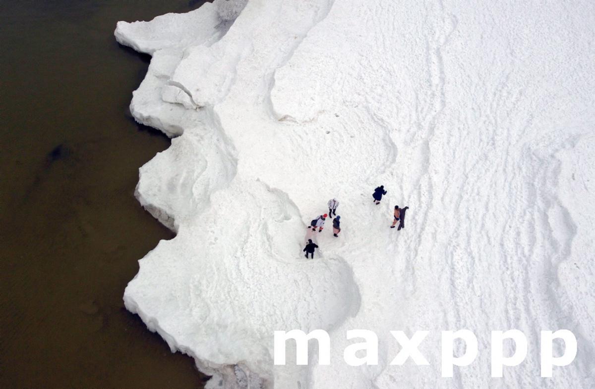 Ice-covered sea in Miedzyzdroje