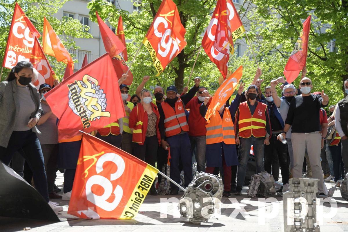 Salariés MBF au tribunal de commerce, Dijon, 27 avril 2021.