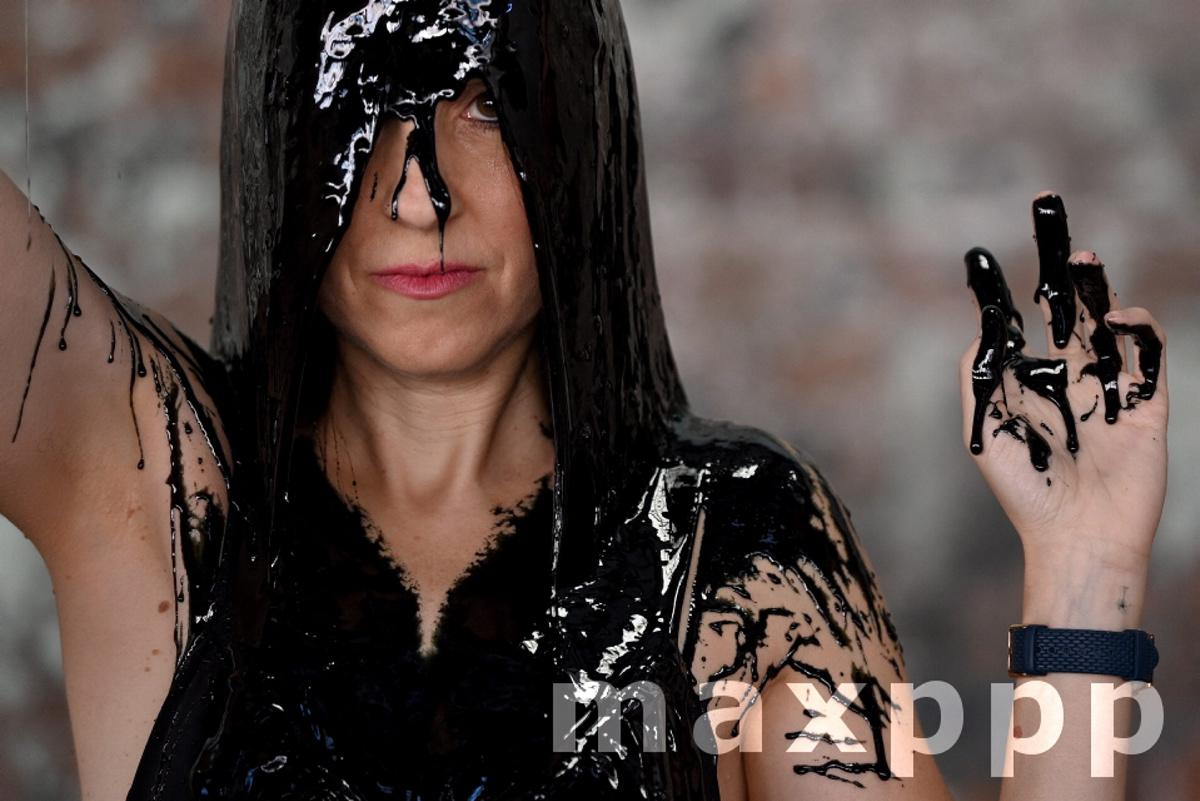 PETA's toxic slime protest during 2021 Afterpay Australian Fashion Week in Sydney
