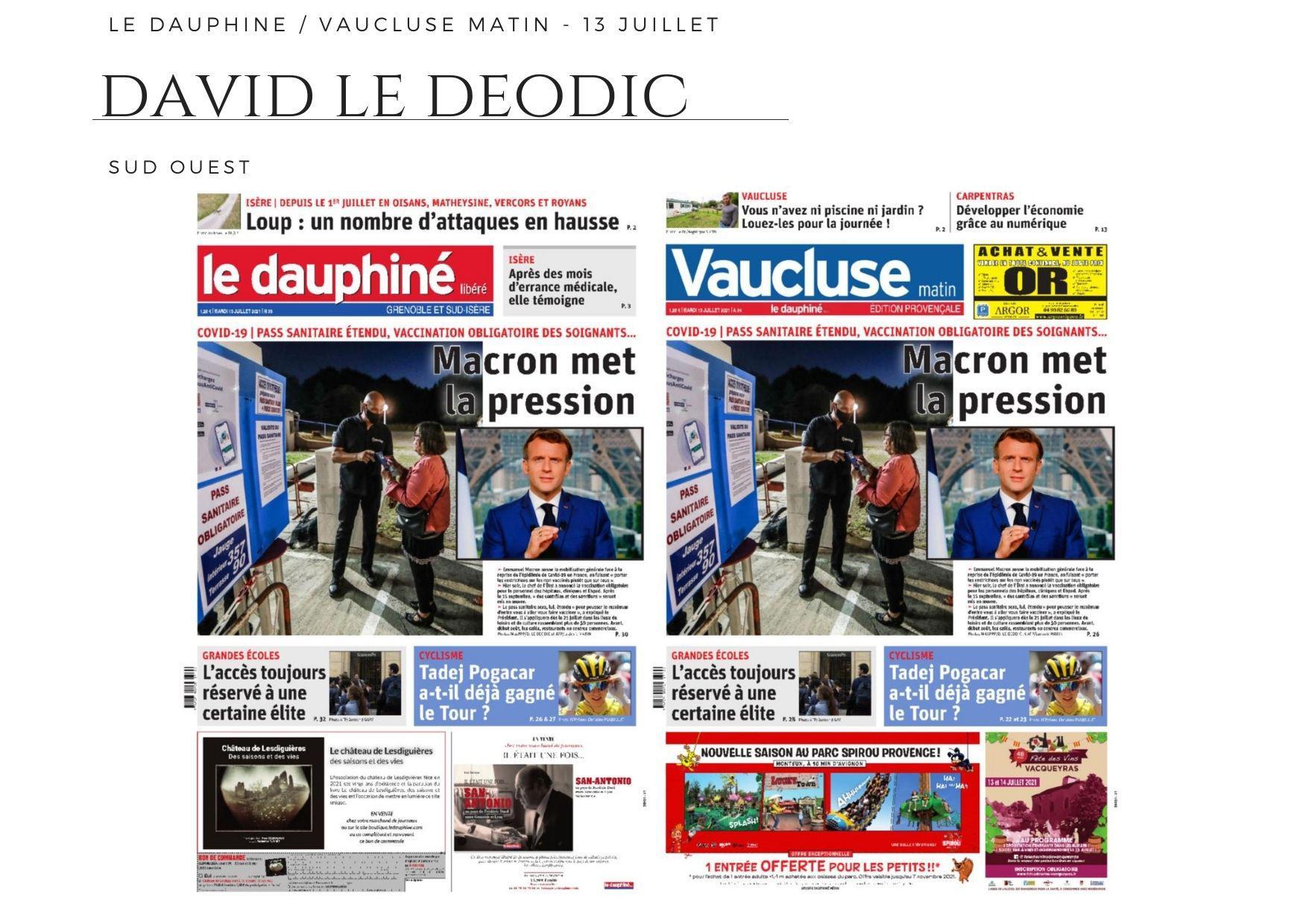 Le Dauphiné / Vaucluse Matin - 13 juillet 2021