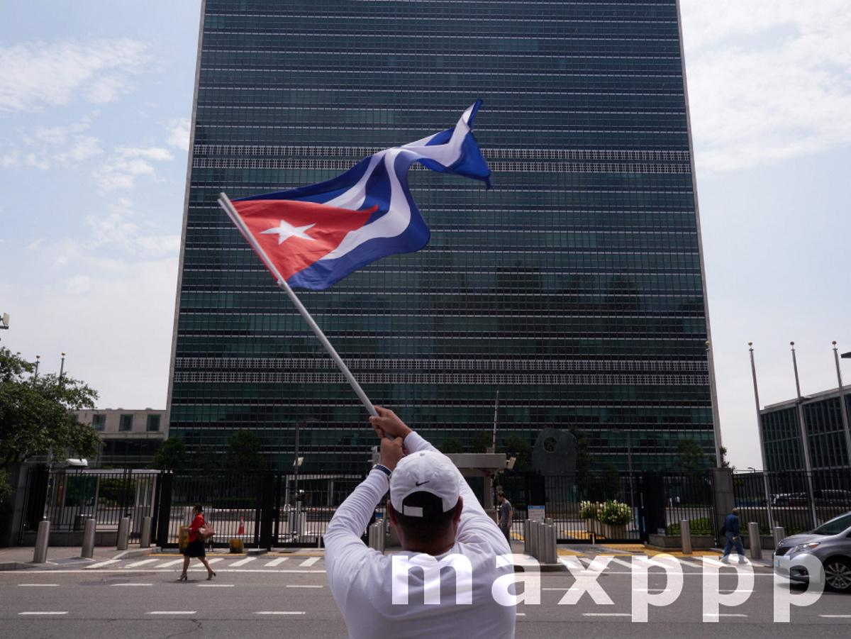 Cuban Anti-Government Protest In Front of United Nations