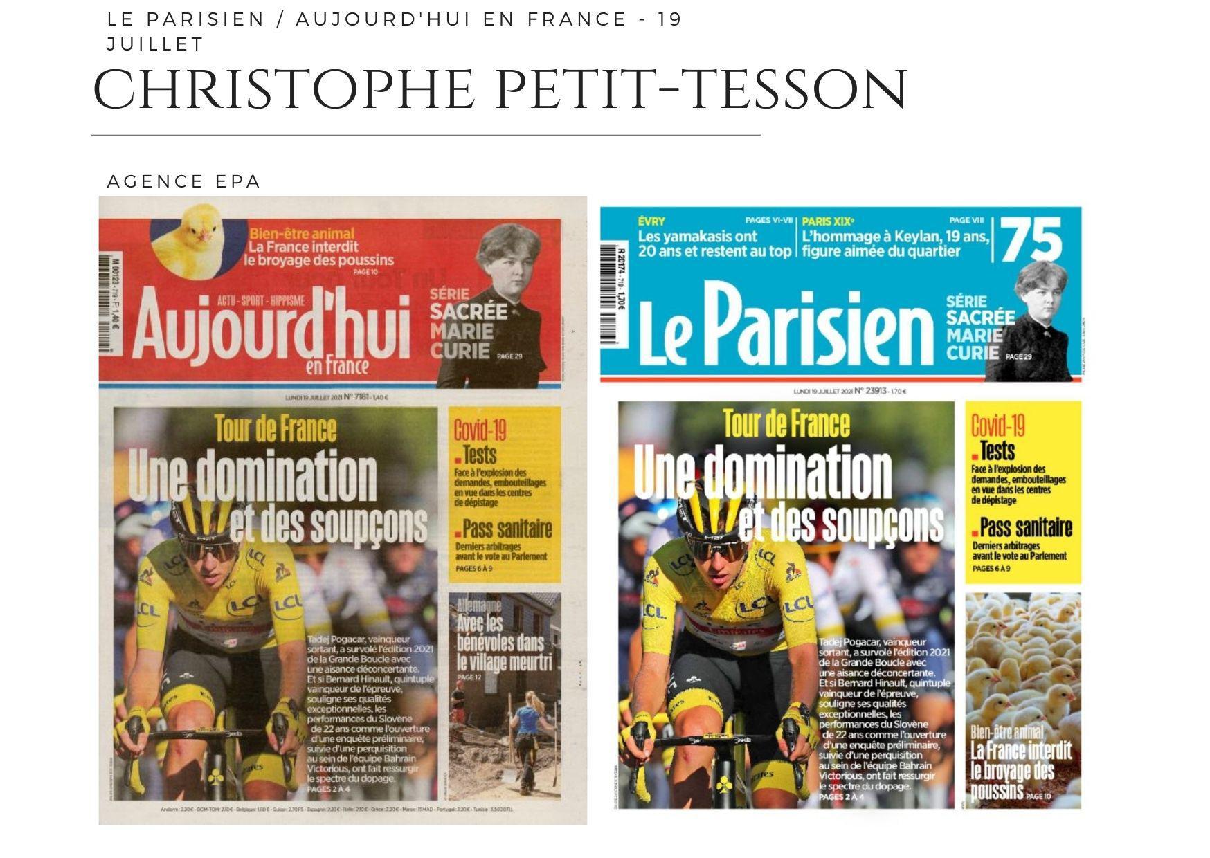 Le Parisien / Aujourd'hui en France - 19 juillet 2021