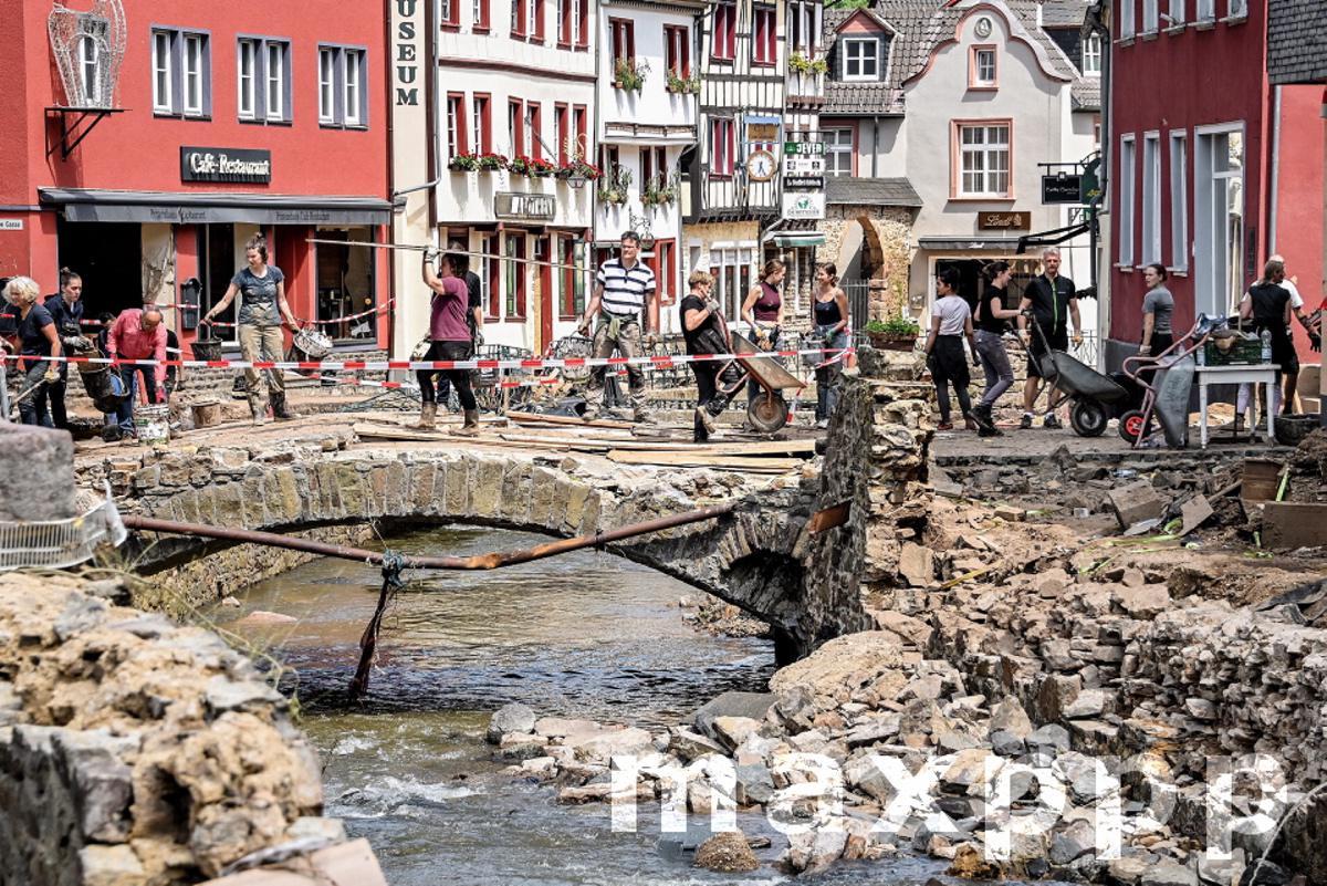 Debris clearing in German flood affected areas