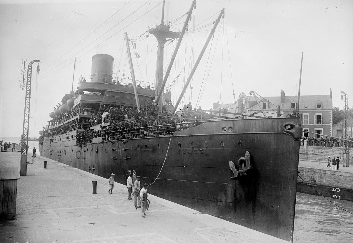 Arrivée des américains à Saint-Nazaire en 1917