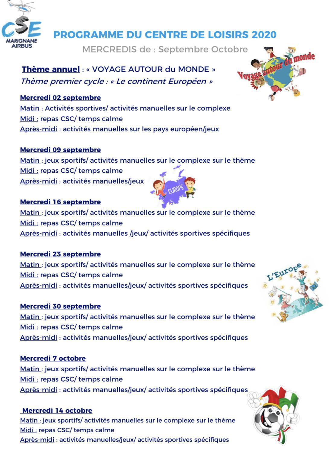 Centre de loisirs : Programme et menus des mercredis de Septembre & Octobre !