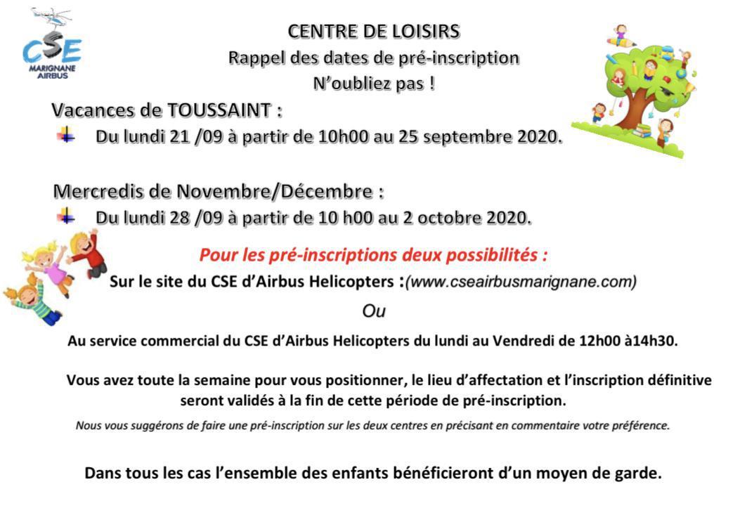 Retrouvez les dates des pré-inscriptions pour les vacances de la Toussaint et les Mercredi de Novembre et Décembre !
