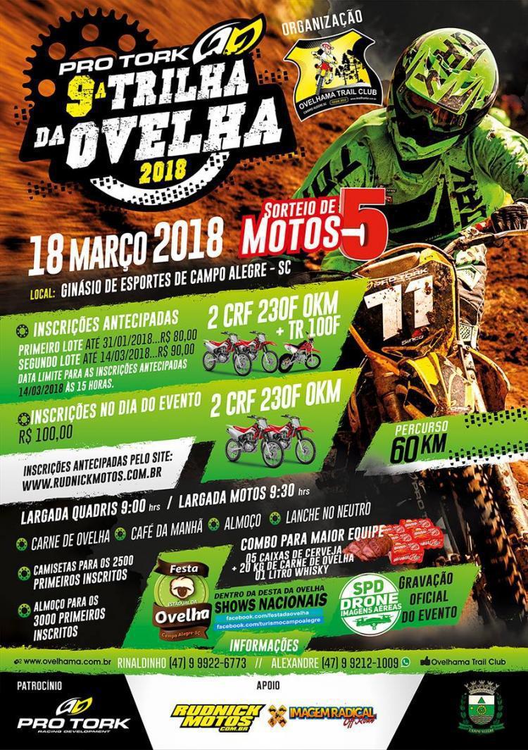 Inscrições abertas para a 9ª Trilha da Ovelha, em Campo Alegre (SC)