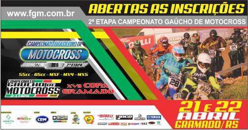 Gramado/RS - Recebe dias 21 e 22/abril - Brasileiro de Motocross (55-65-MXF-MX4 eMX5), 2a Etapa do Gaúcho de MX, e Copa Gramado