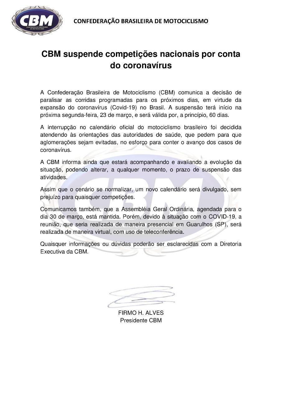 CBM suspende competições nacionais por conta do coronavírus