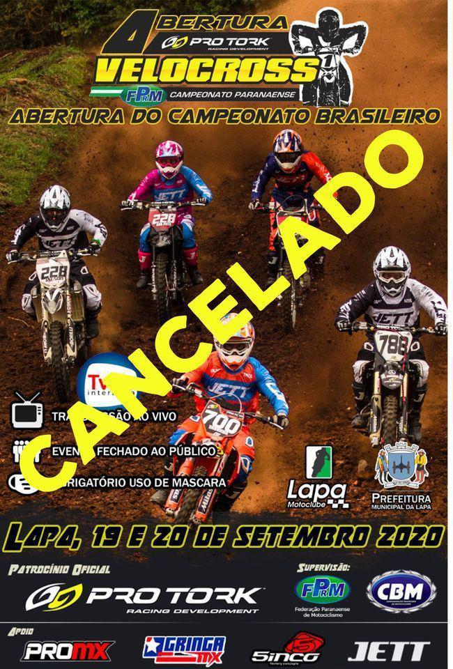 COMUNICADO: Brasileiro de Velocross na Lapa (PR) é cancelado