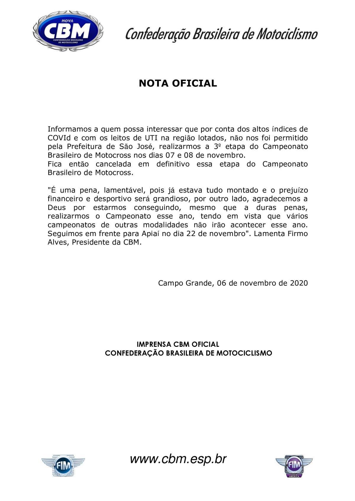 CANCELADA A 3ª ETAPA DO BRASILEIRO DE MOTOCROSS!