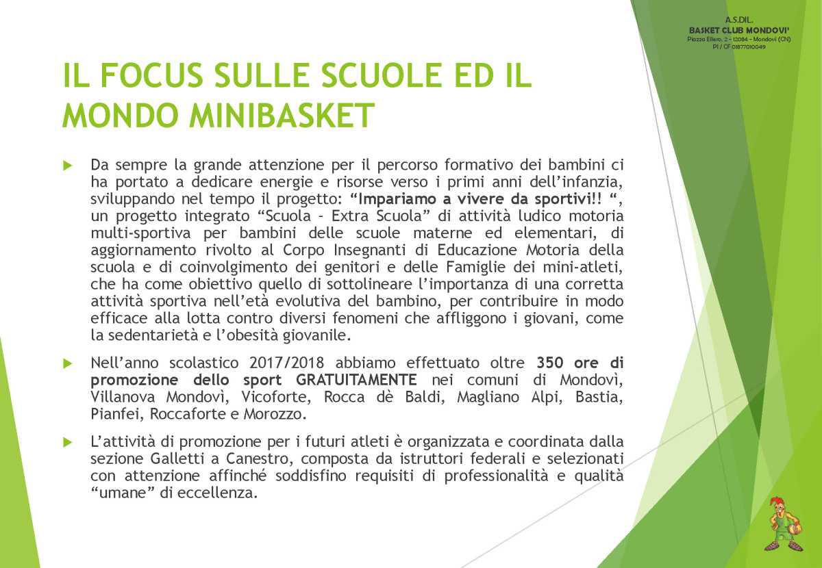 BASKET CLUB MONDOVI': Since 1973