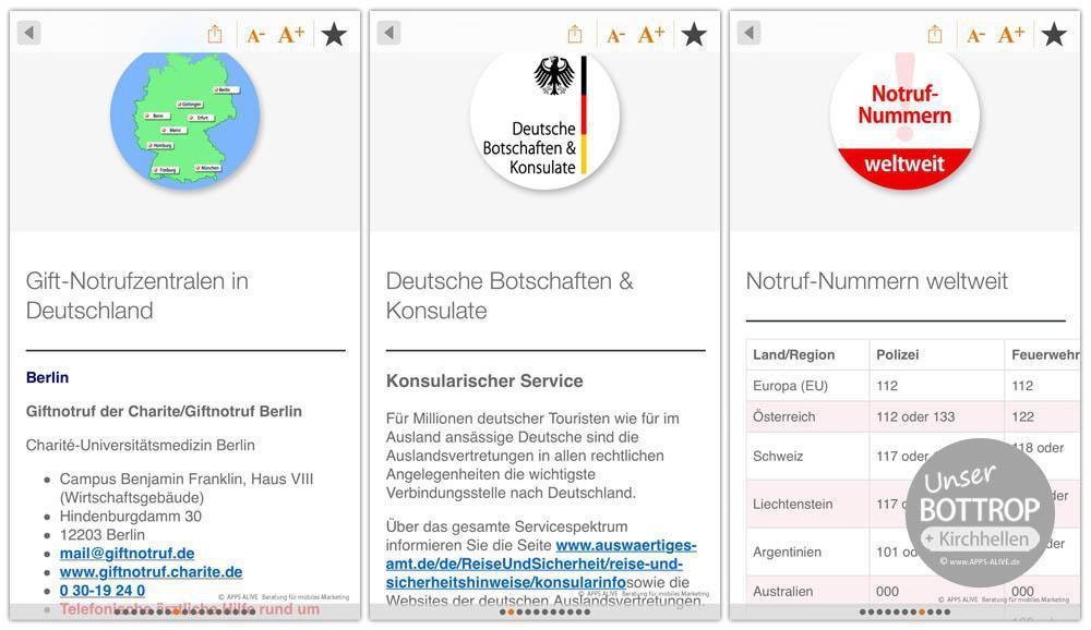 """Das gibt es nur hier: Über 40 Angebote zu """"Notrufen & Infos"""" in der """"Unser Bottrop""""-App"""