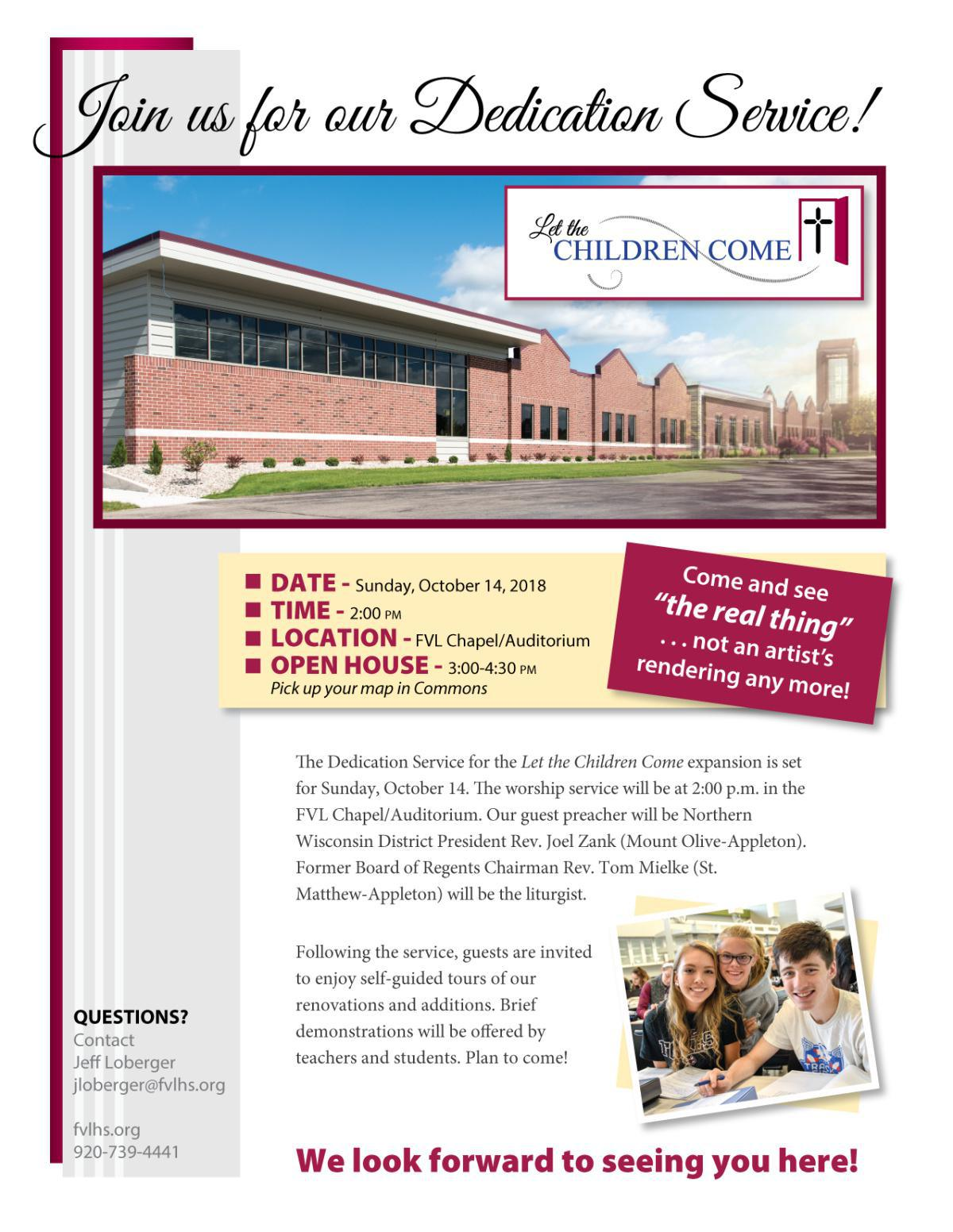 Join us on 10/14 - Dedication and Open House