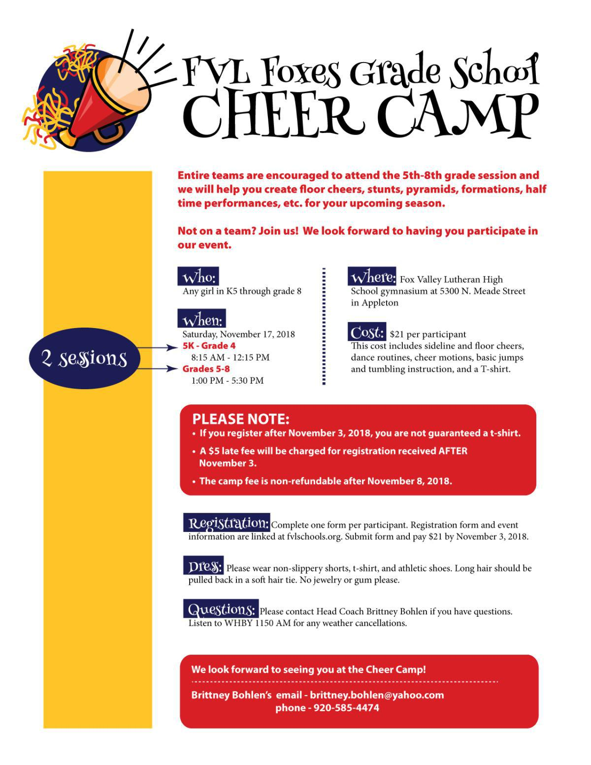 Registration OPEN for Grade School Cheer Camp