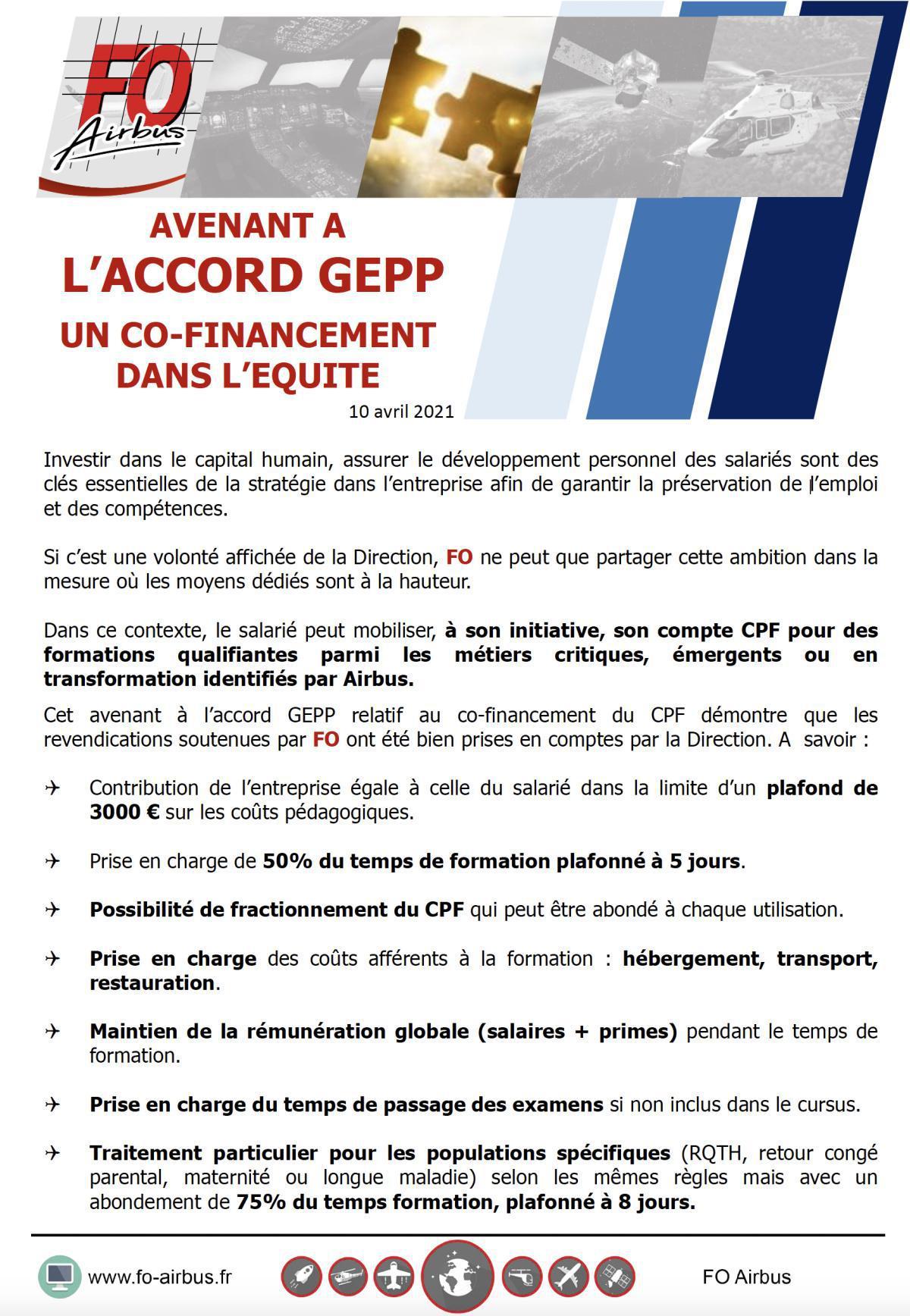 Avenant a l'accord GEPP un co-financement dans l'équité