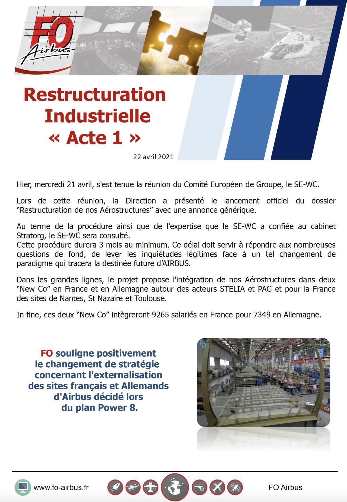 Restructuration industrielle : Acte I