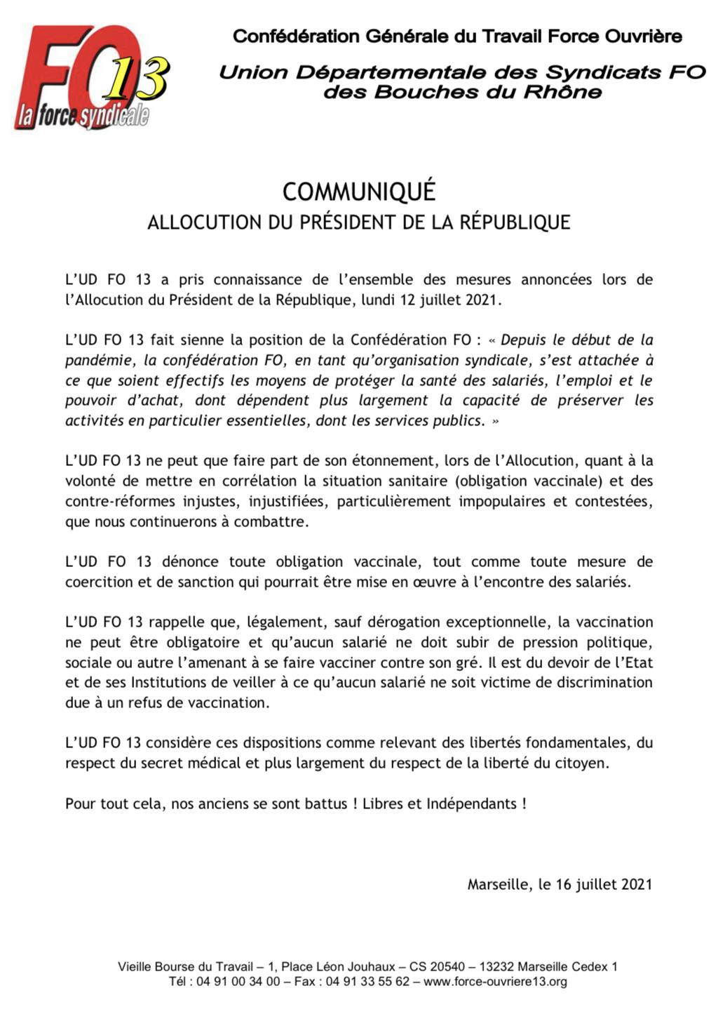 Zapp presse : Communiqué de presse UD 13 FO suite à l'allocution du Président de la République !