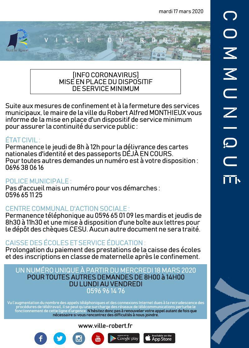 INFO CORONAVRUS : MISE EN PLACE D'UN DISPOSITIF DE SERVICE MINIMUM
