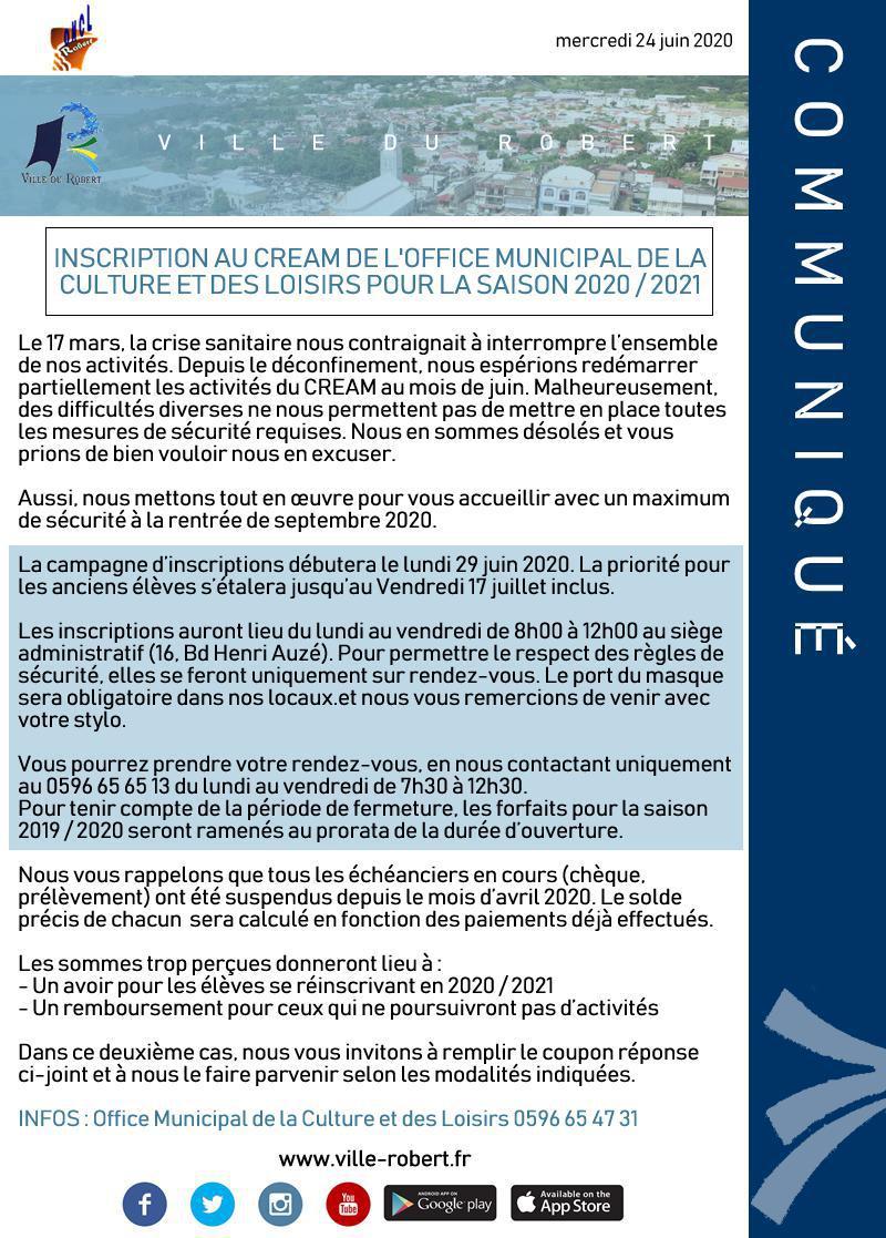 INSCRIPTION AUX ACTIVITÉS DE L'O.M.C.L.R POUR LA SAISON 2020 / 2021
