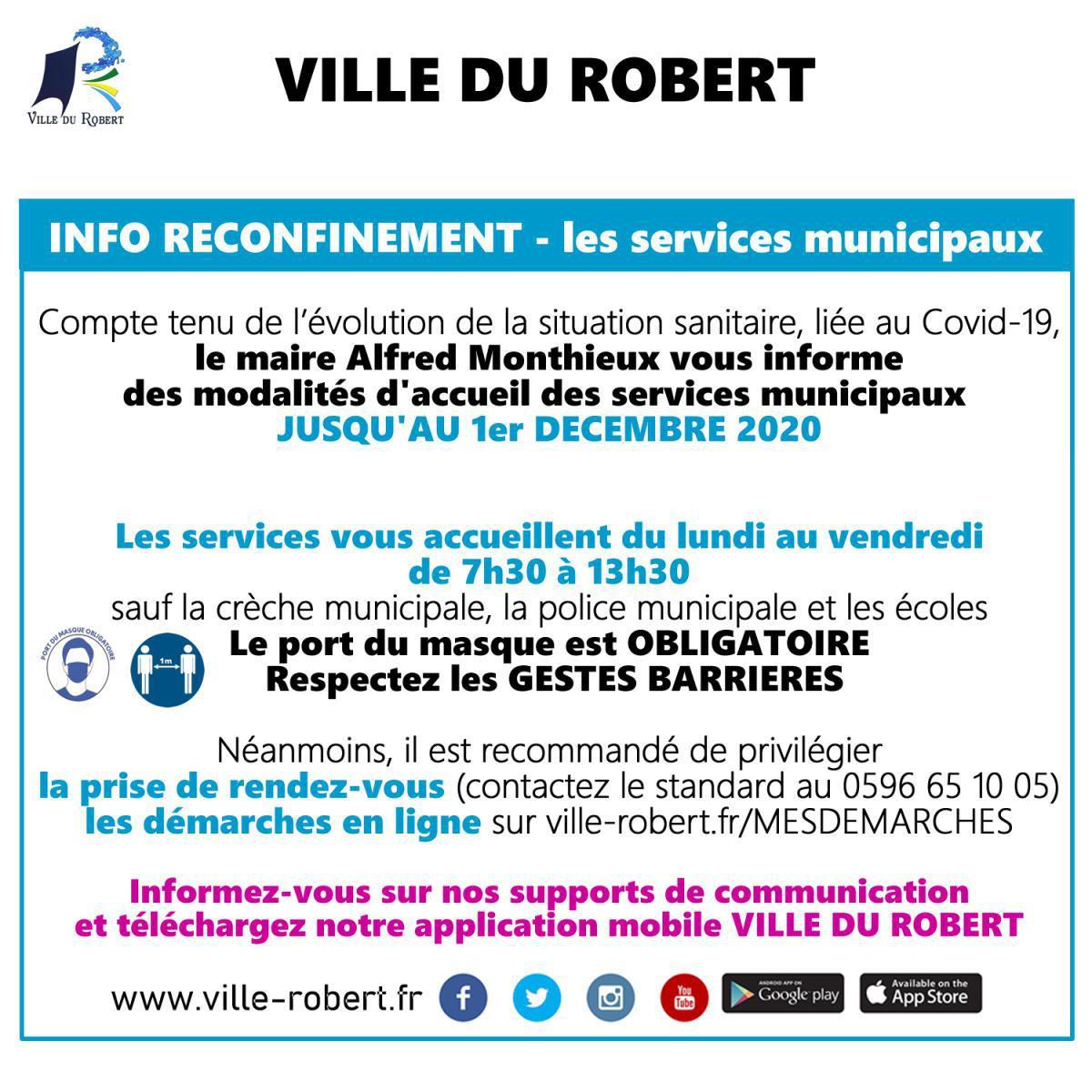 INFO RECONFINEMENT : LES SERVICES MUNICIPAUX