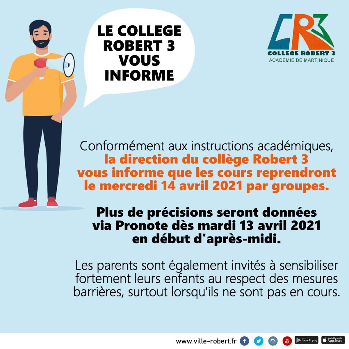 LE COLLÈGE ROBERT 3 INFORME LES PARENTS