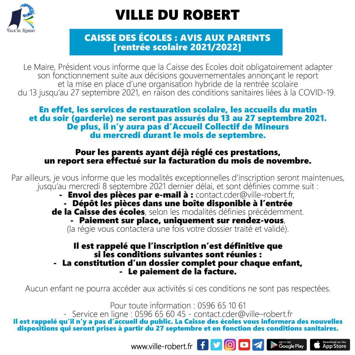 RENTREE SCOLAIRE 2021/2022 : AVIS AUX USAGERS DE LA CAISSE DES ECOLES