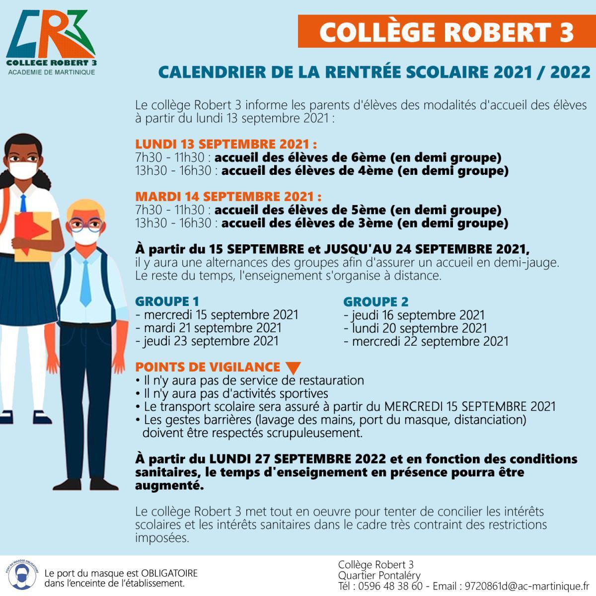 CALENDRIER DE LA RENTREE SCOLAIRE 2021 / 2022