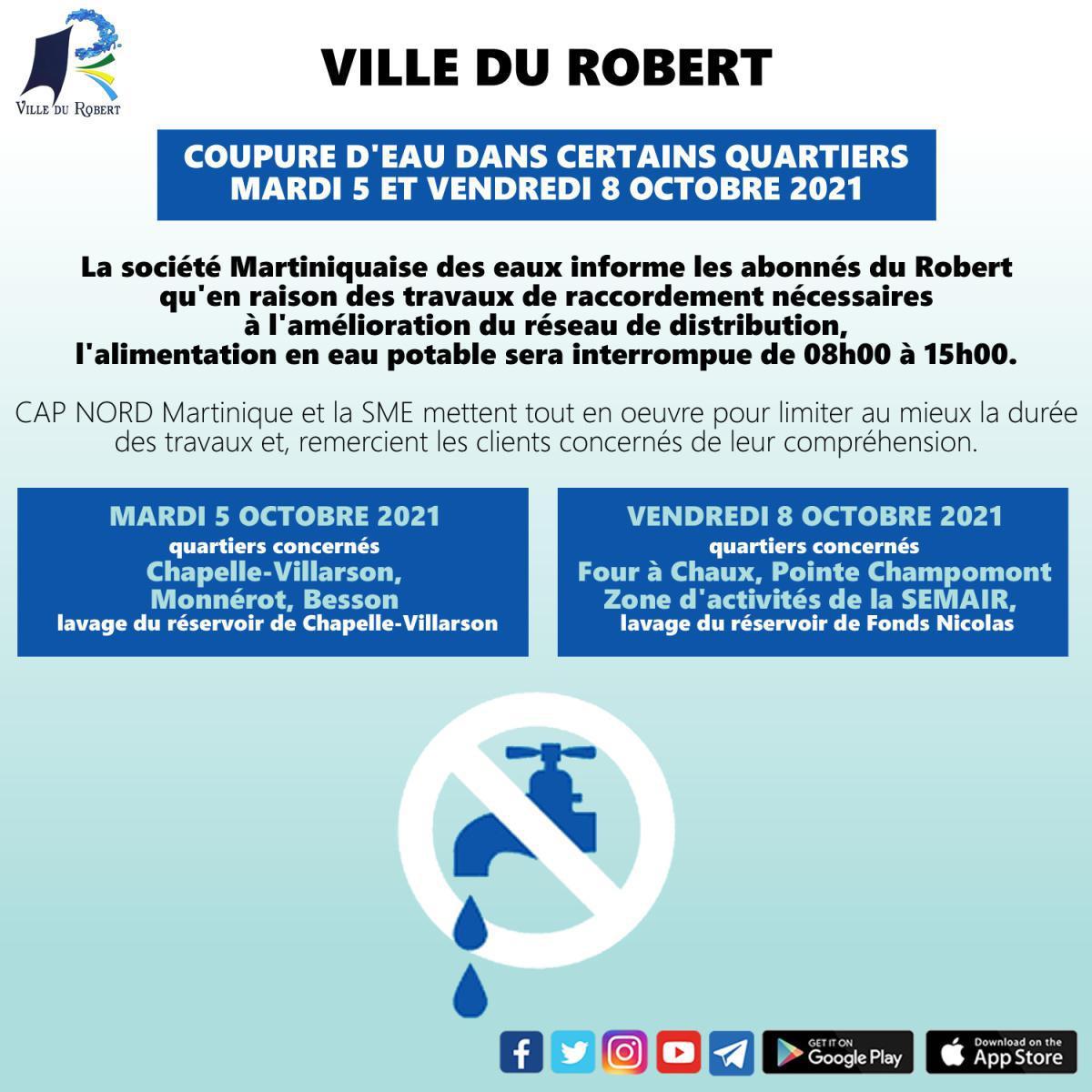 COUPURE D'EAU DANS CERTAINS QUARTIERS MARDI 5 ET VENDREDI 8 OCTOBRE 2021