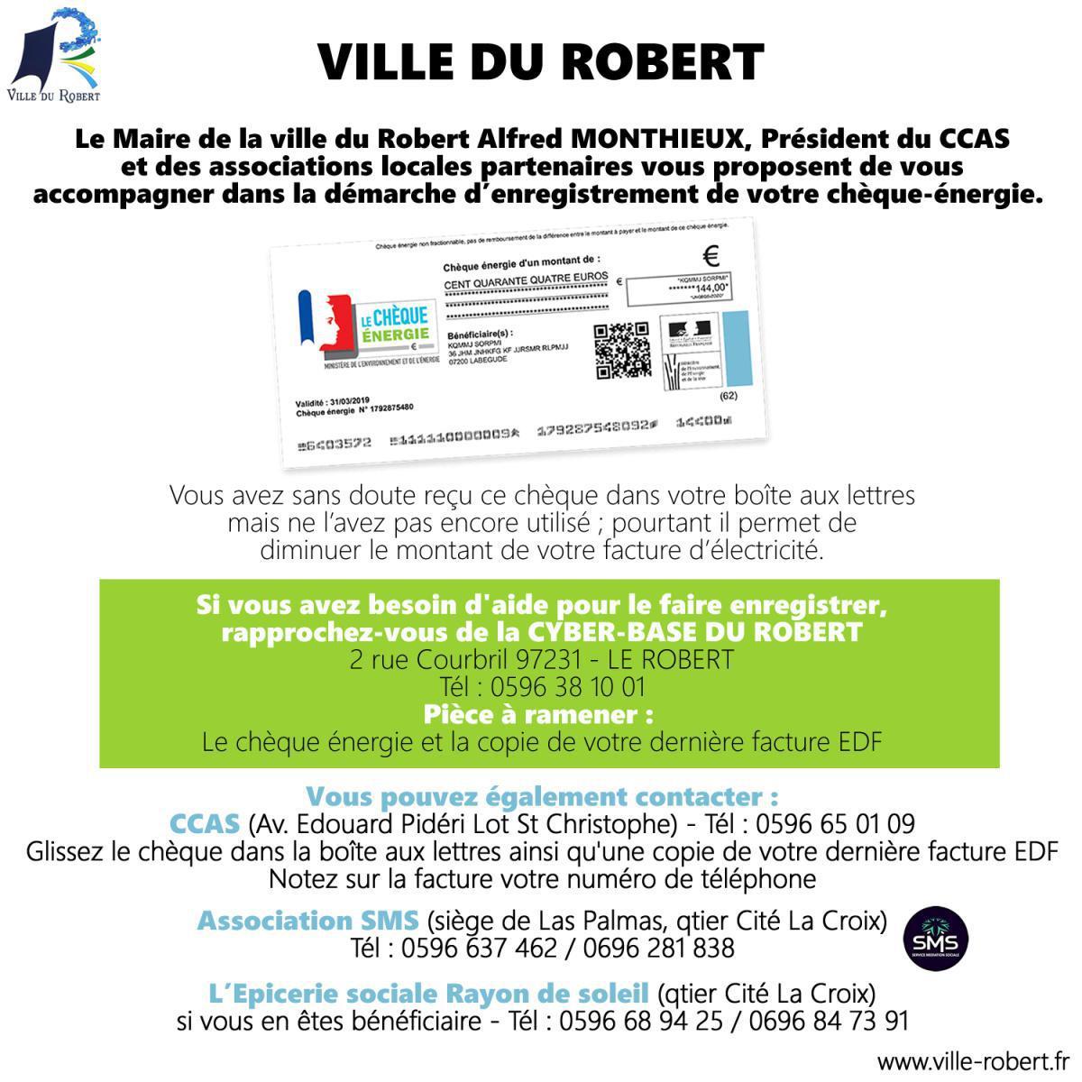 LA VILLE DU ROBERT VOUS ACCOMPAGNE DANS VOS DÉMARCHES D'ENREGISTREMENT DU CHÈQUE-ÉNERGIE