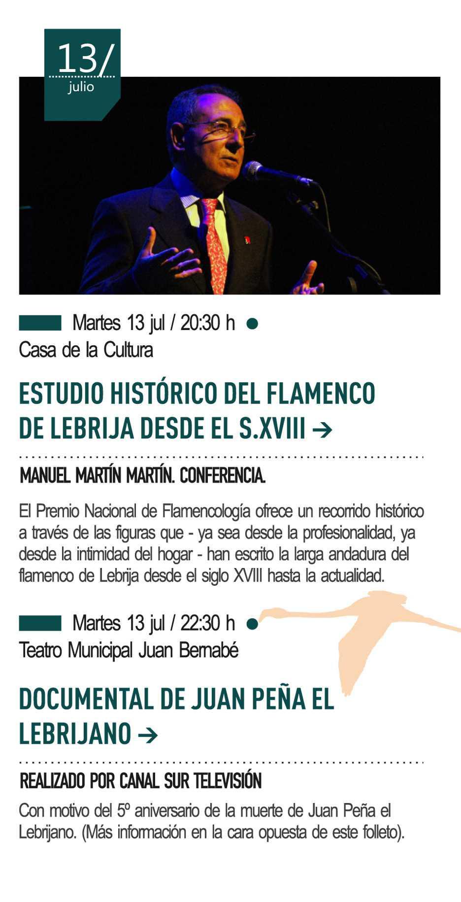 13 de julio - Conferencia a cargo de Manuel Martín