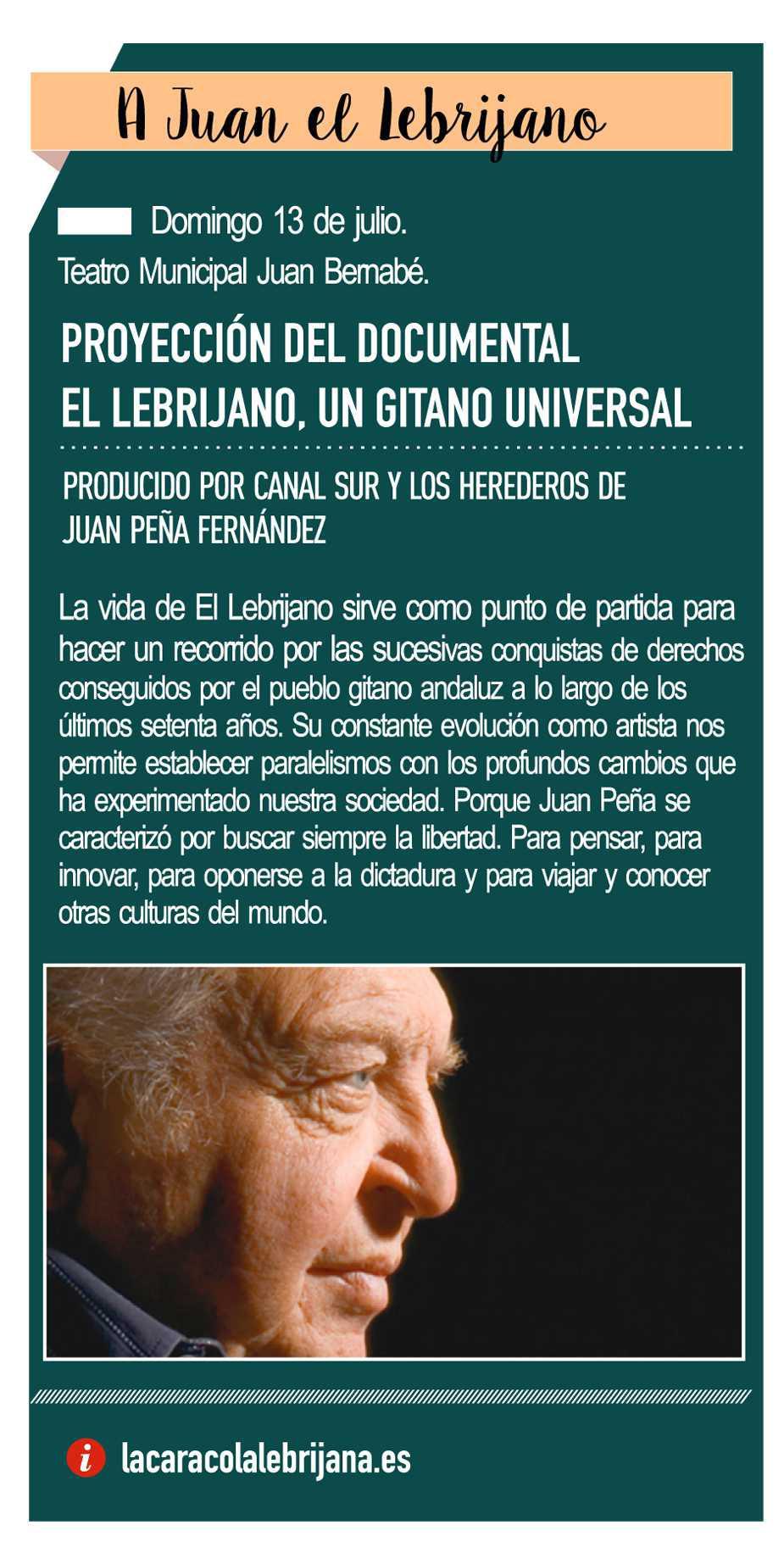 """13 de julio - Pre-estreno del documental """"El Lebrijano, un gitano Universal"""""""
