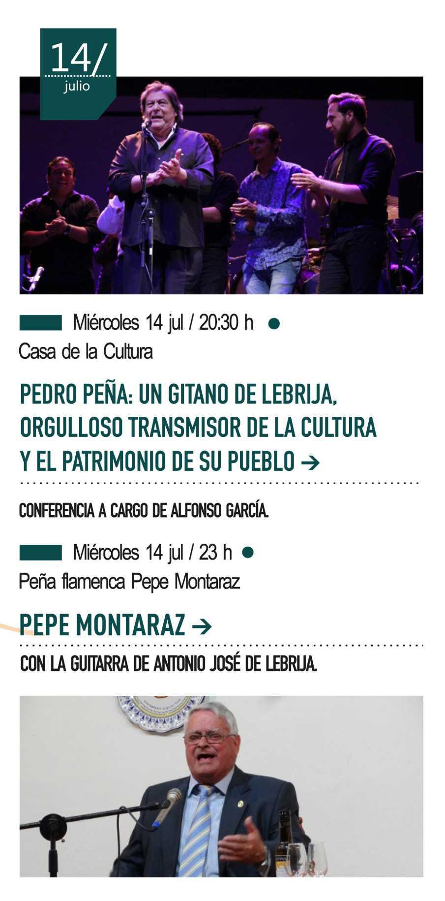 14 de julio - Conferencia sobre Pedro Peña, Caracol de Oro