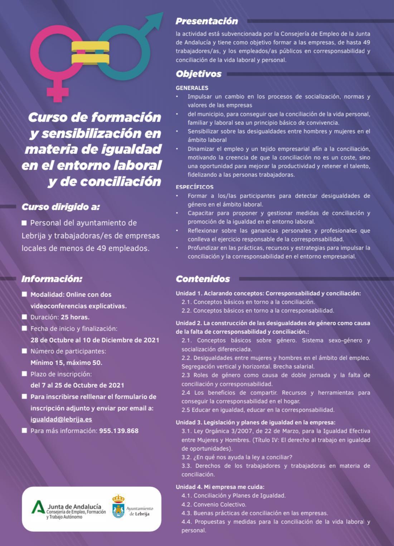 Abierto el plazo de inscripción para participar en un curso de formación en materia de igualdad en el entorno laboral y de conciliación