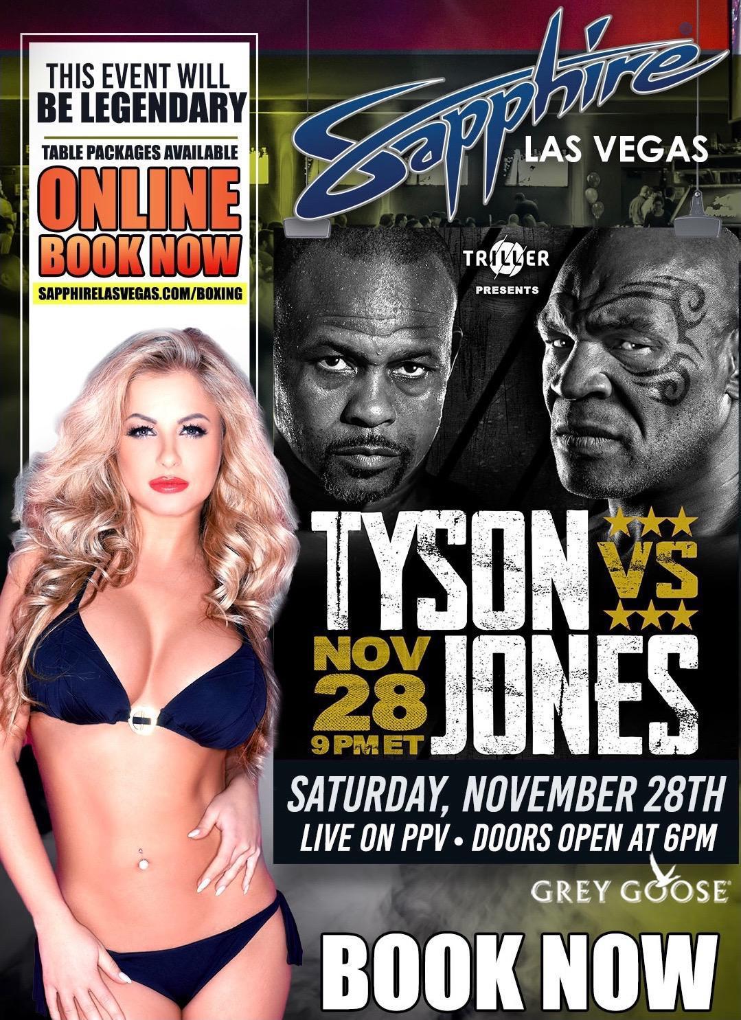It's FIGHT NIGHT - Iron Mike is BACK! Watch Tyson vs Jones Live on PPV TONIGHT at Sapphire Las Vegas. Doors open at 6pm.