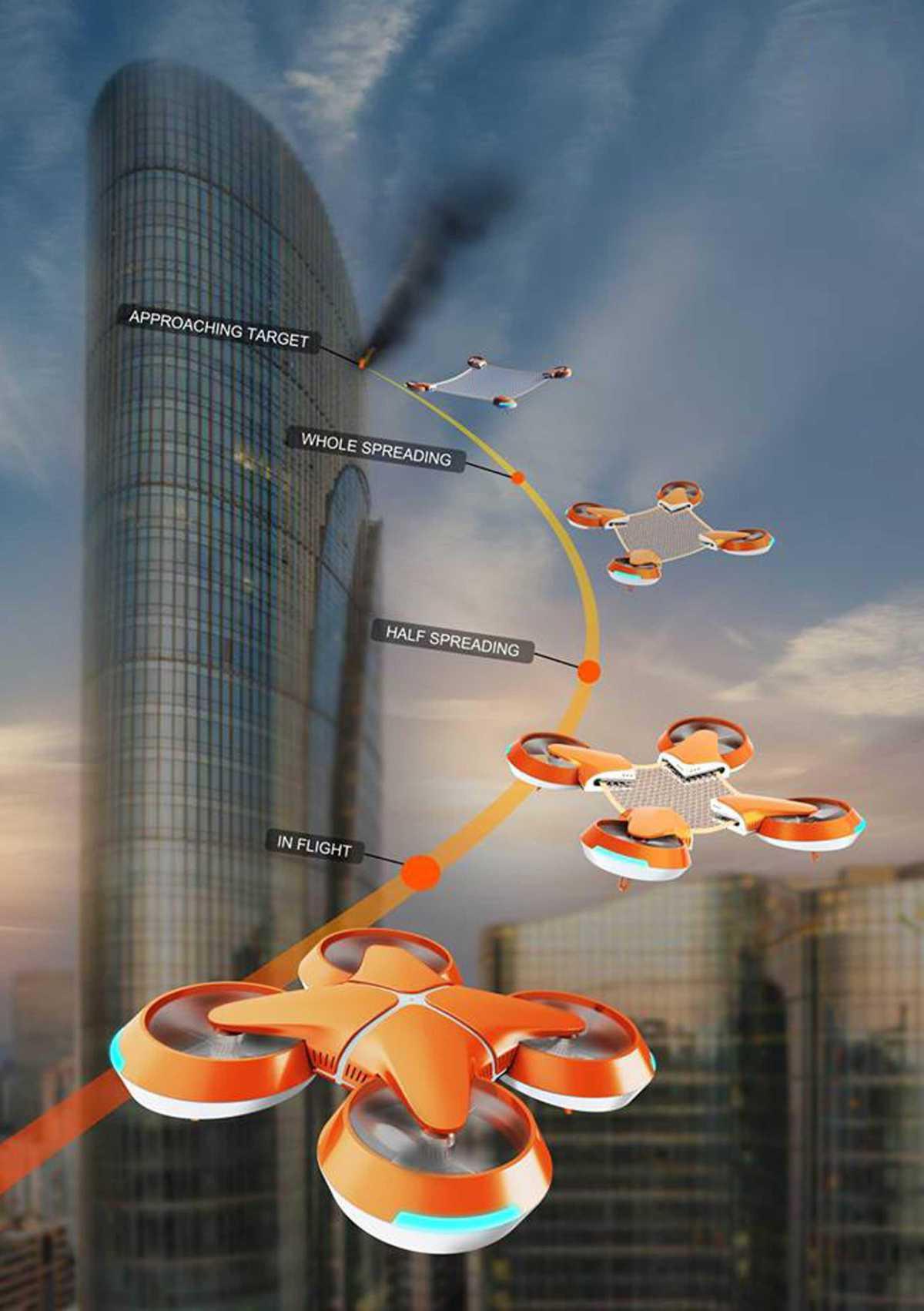 Arriva Net Guard: Il drone che si apre in quattro per salvare le persone dagli incendi-VIDEO