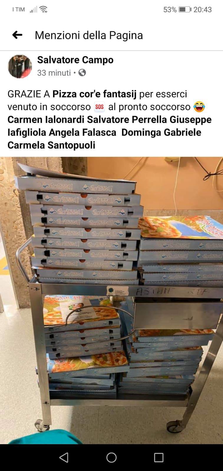 Ospedale Cardarelli di Campobasso, la solidarietà di Pizza Cor' e Fantasij #moliseinfo