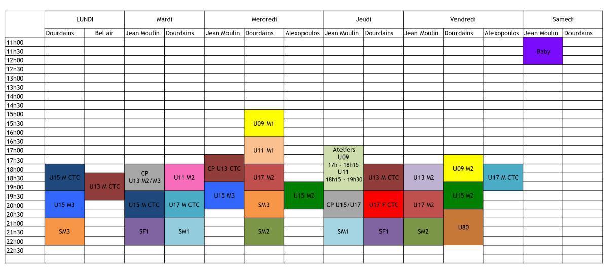 Planning définitif de la saison 2017-2018