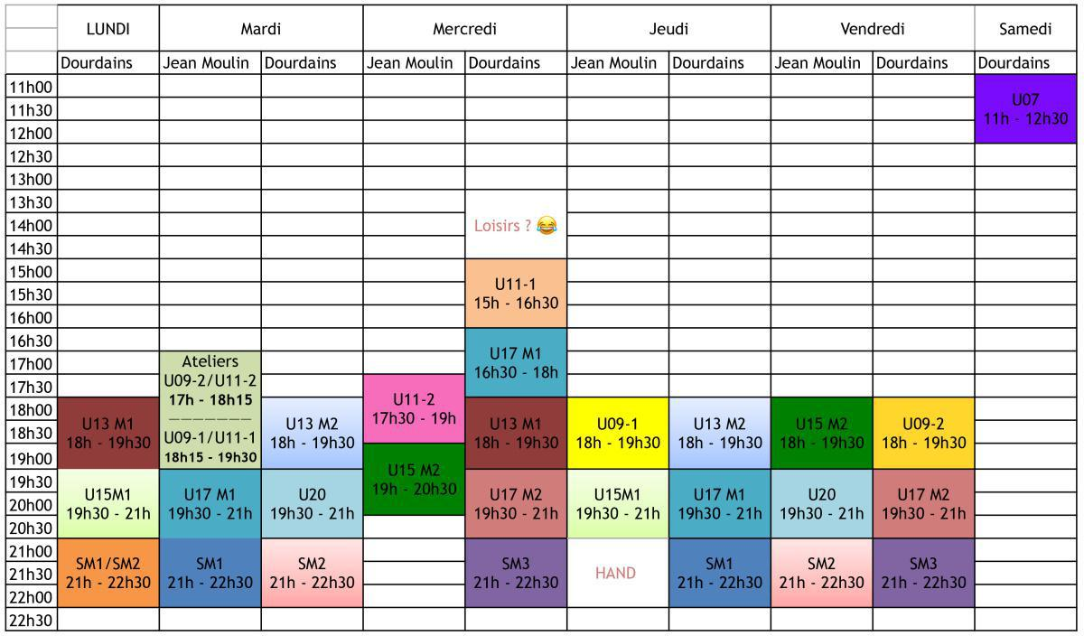 Planning de la saison 2020-2021