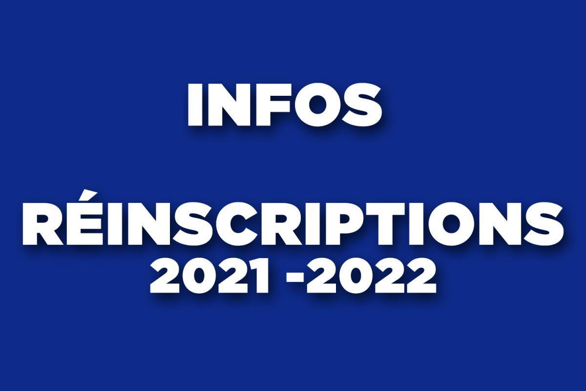 Infos Réinscriptions 2021-2022
