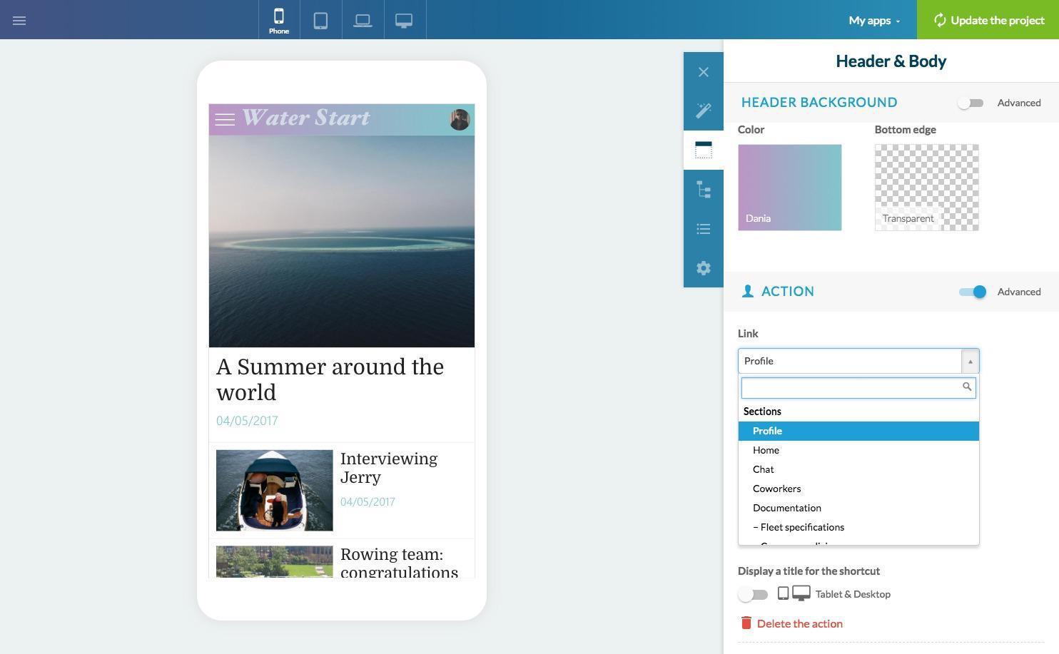 Profilo utente e NavBar