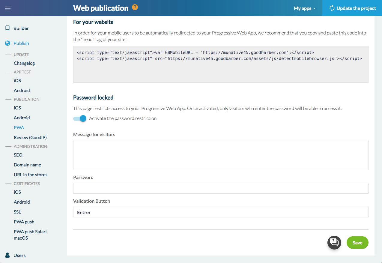 Limita l'accesso alla tua PWA con una password