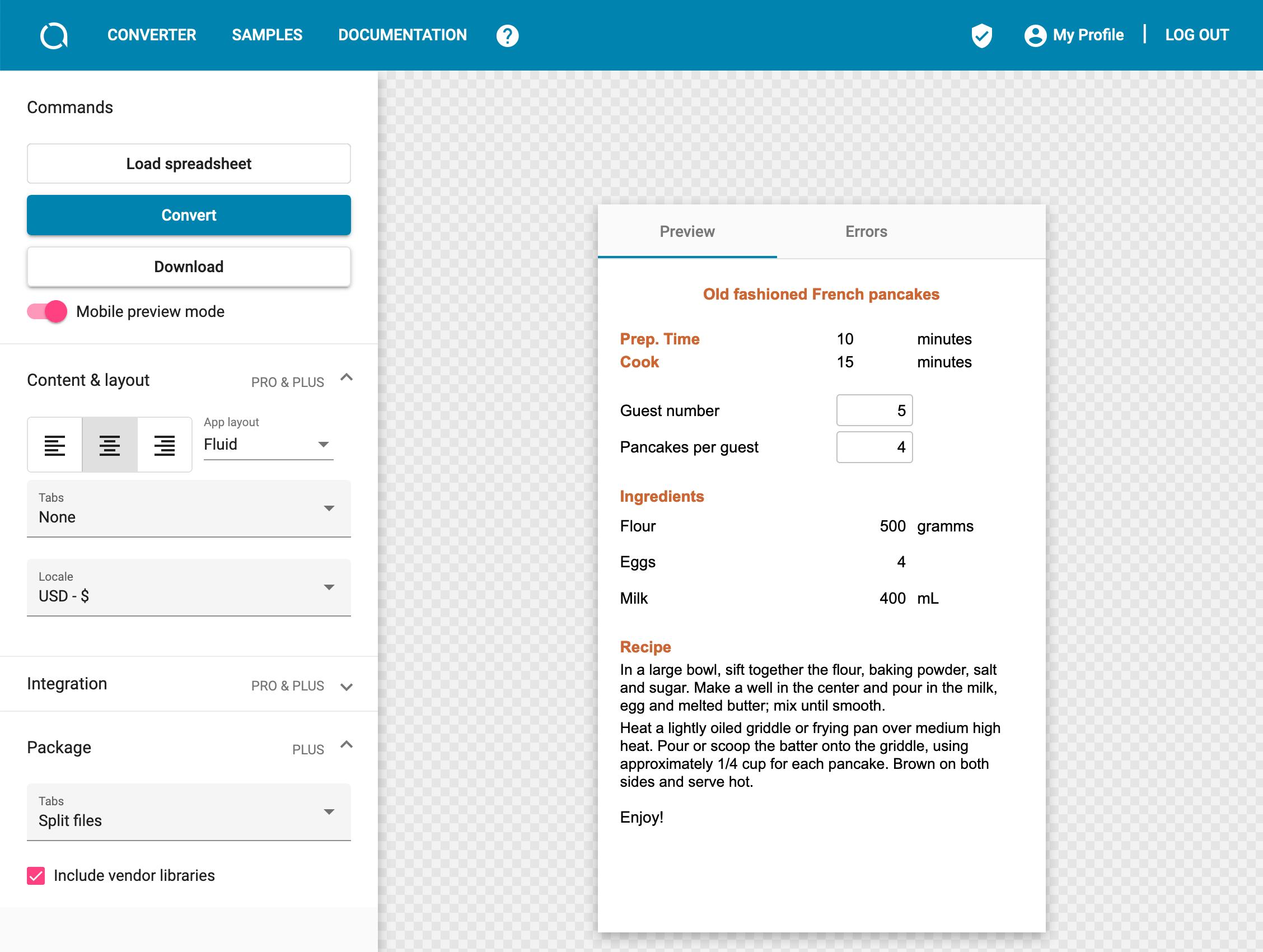 Converti un file Excel in un'app mobile