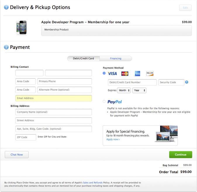 Pagina di pagamento Apple Developer Program