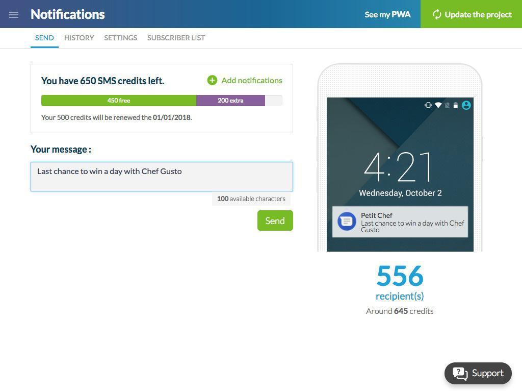 Notificaciones SMS: precios divididos por 10