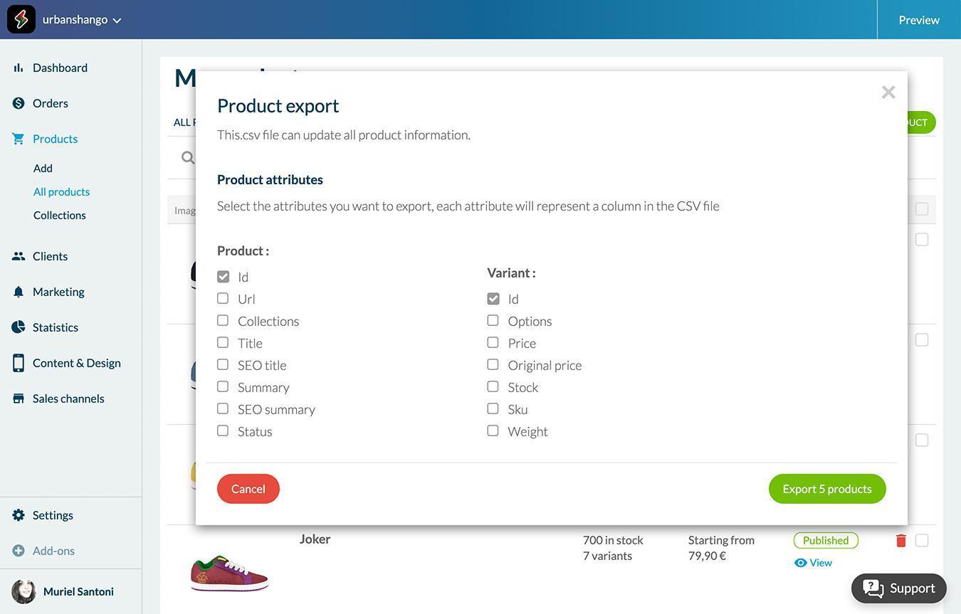 Importa / Exporta tu catálogo de productos