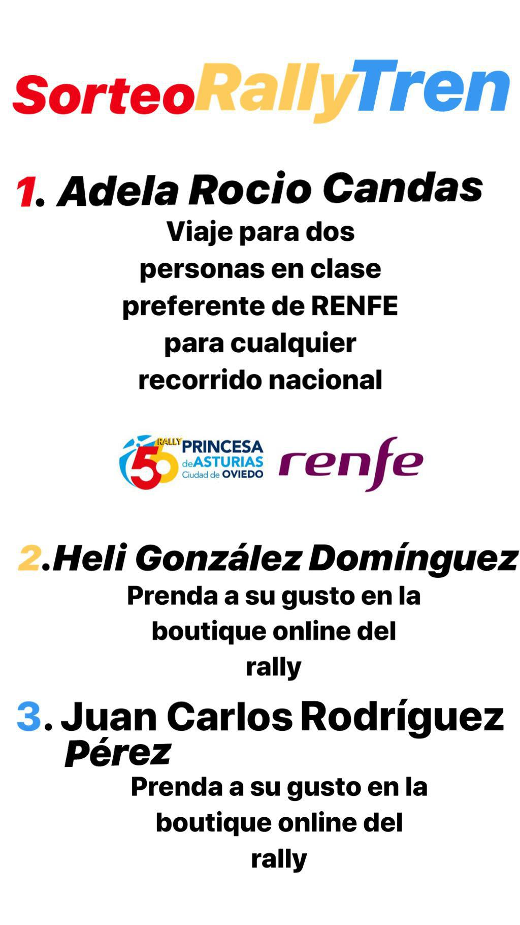 Sorteo Rally Tren Renfe Princesa de Asturias