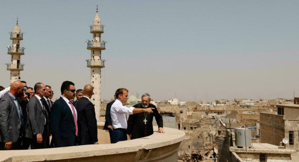 ماكرون يزور معالم الموصل المدمرة في اليوم الثاني من زيارته للعراق