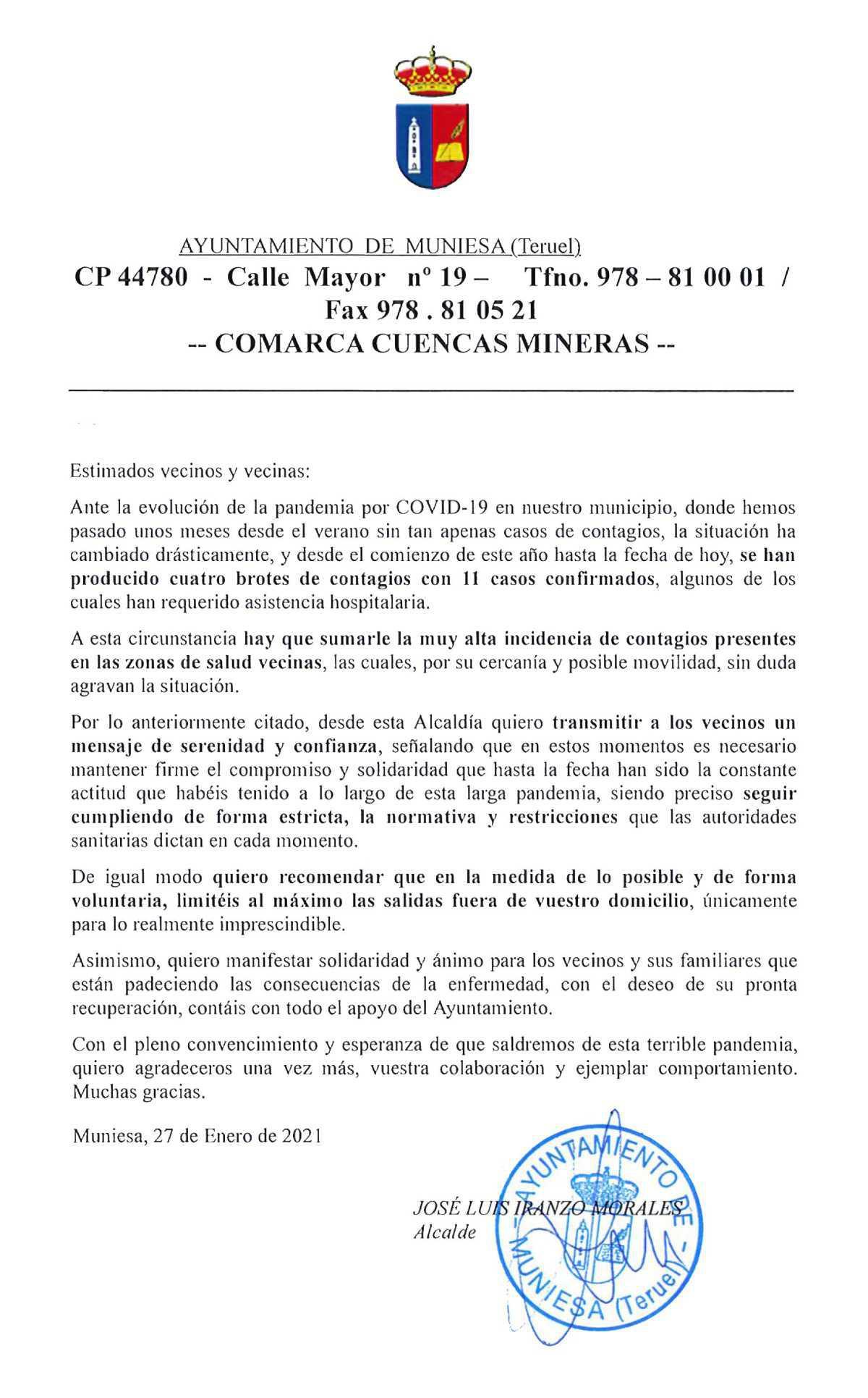 MUNIESA. SITUACIÓN DE LA PANDEMIA DE LA COVID-19