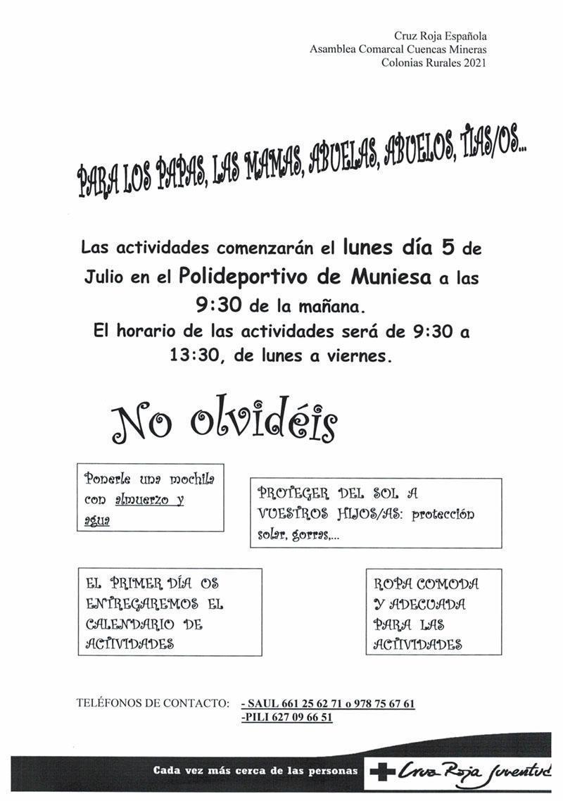 MUNIESA. COLONIAS DE VERANO. EDAD + 4 AÑOS